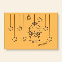Grußkartenset bedruckt Angel Innocent Yellow Geist und Geschenk