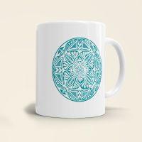 Mandala Shamanic Motiv bedruckte Tasse klassisch türkis