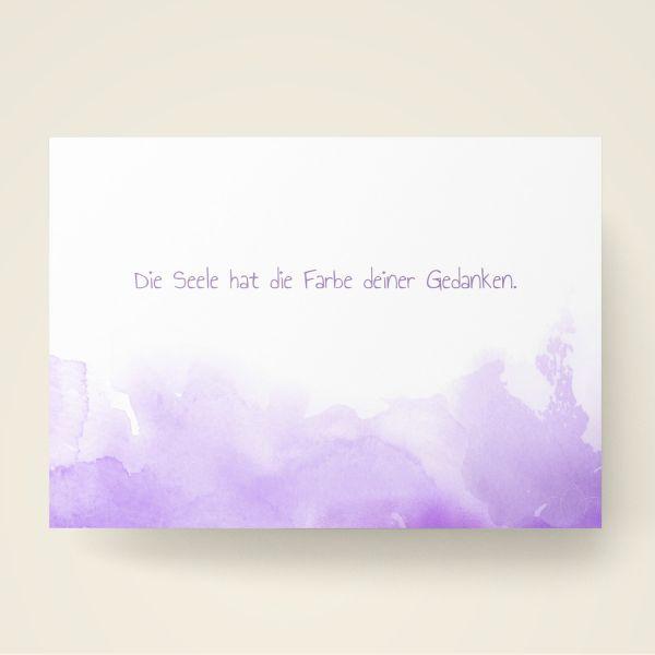 Grusskarten Set Farbwolken in Violett 'Die Seele hat die Farbe deiner Gedanken'