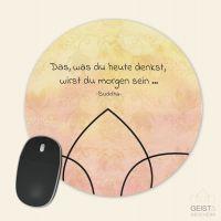 Bedrucktes Mousepad Aquarell Sunset Buddha Zitat Gedanken Geist und Geschenk runde Form