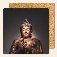 Bedruckte Korkuntersetzer Buddha Gold Geist und Geschenk eckige Form
