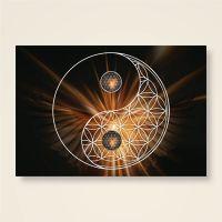 Postkarte Grußkarte Blume des Lebens Flower of Life Yin Yang Nacht Geist und Geschenk