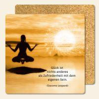 Bedruckte Korkuntersetzer Yoga Zitat Glück ist Zufriedenheit Geist und Geschenk eckige Form