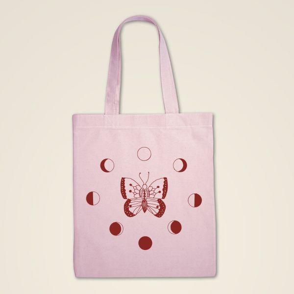 Stofftasche bedruckt Transformation rosa rot baumwolle geist und geschenk