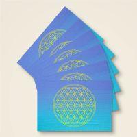 Postkarte Grußkarte Blume des Lebens Flower of Life Vishuddha Geist und Geschenk Gelb