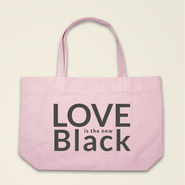 Boatshape Love is the new Black stofftasche spruch bedruckt rosa