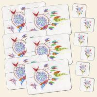 Bedrucktes 12- teiliges Tischset Traumfänger Dreamcatcher Butterfly Schmetterling Geist und Geschenk