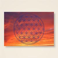 Postkarten Grußkarte Blume des Lebens Motiv Abendhimmel bedruckt Geist und Geschenk Blau