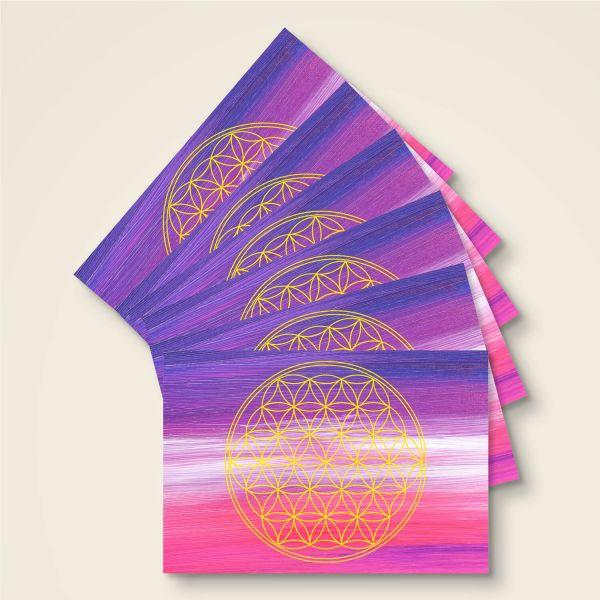 Postkarten Grußkarte Blume des Lebens Motiv Ajna bedruckt Geist und Geschenk