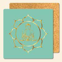 Bedruckte Korkuntersetzer 'Buddha Gold'  Geist und Geschenk eckige Form