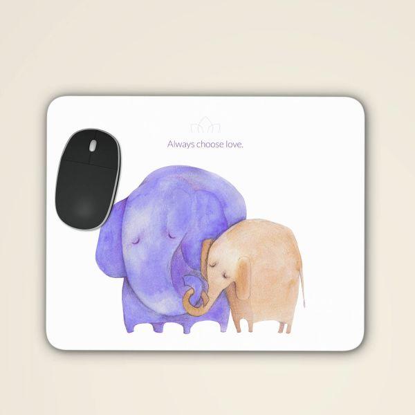 Bedrucktes Mousepad sicher online bestellen 'Always choose love' aquarell motiv violett