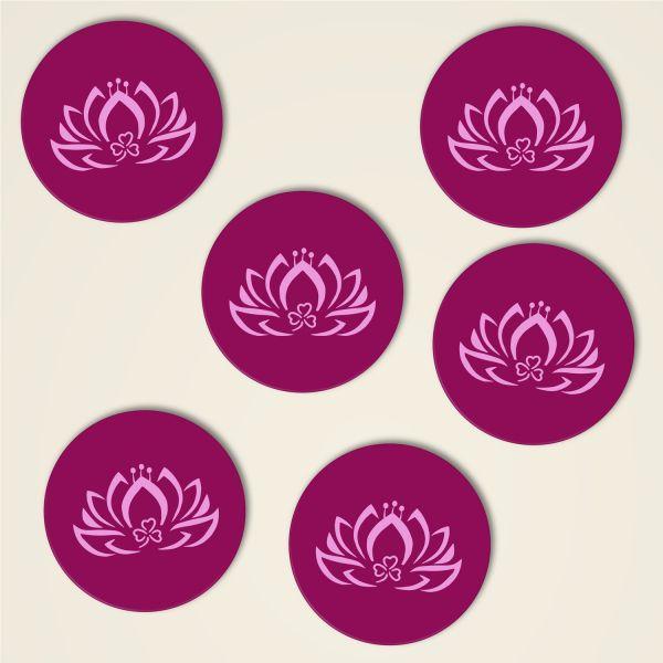 Untersetzer dreiblatt lotus bedruckt design