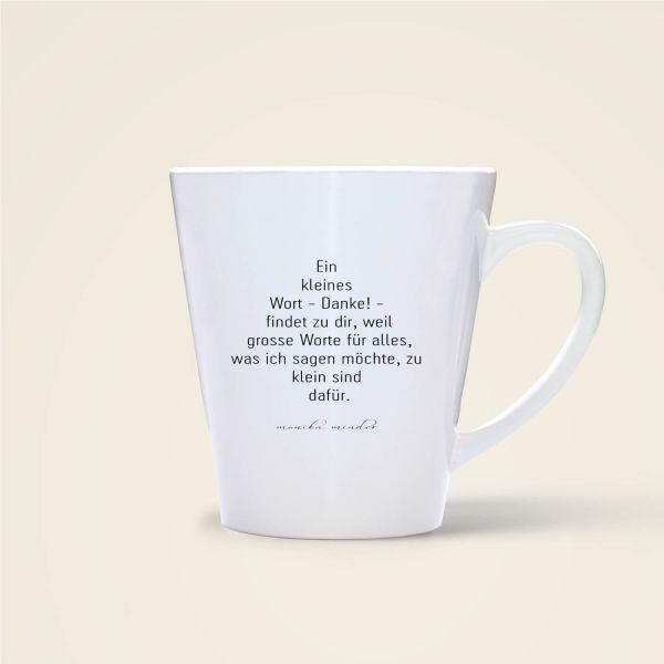 Ein kleines Wort Danke - Tasse bedruckt mit Spruch  Rückseite