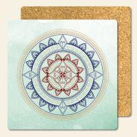 Bedruckte Korkuntersetzer 'Mandala Classic'   Geist und Geschenk eckige Form