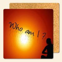 Bedruckte Korkuntersetzer 'Who am I'   Geist und Geschenk eckige Form