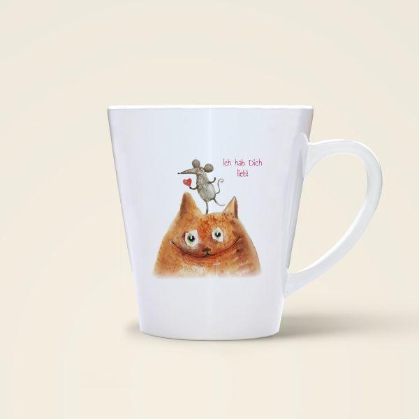 Bedruckte Tasse Liebe Liebesspruch Katze Maus