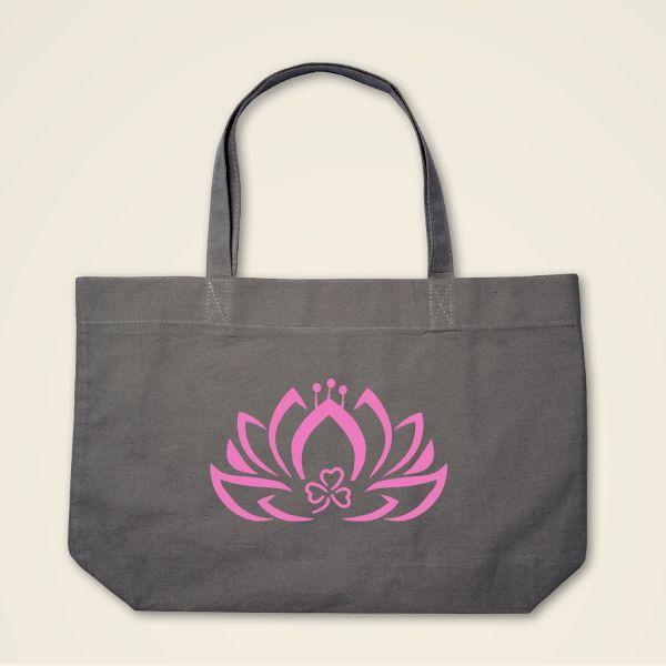 Boatshape Stofftasche grau 'Dreiblatt-Lotus'