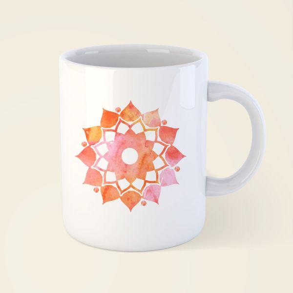 Tasse Becher bedruckt Motiv Mandalablume klassisch orange