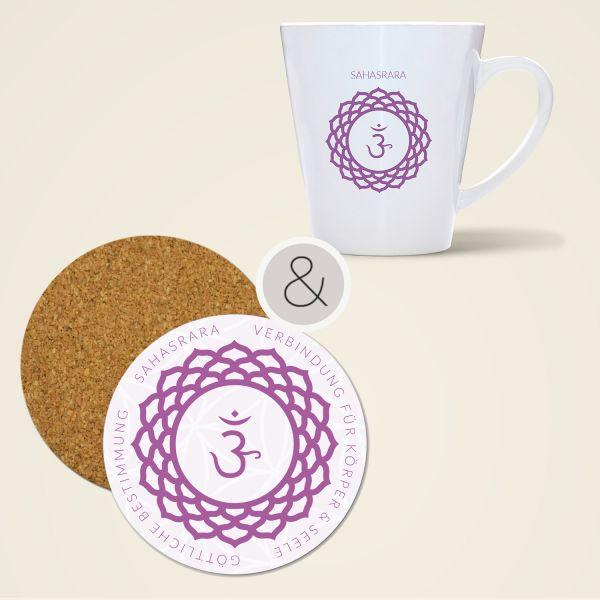 Geschenkset Untersetzer kork Tasse bedruckt Chakren Motiv Sahasrara