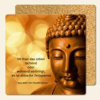 Bedruckte Korkuntersetzer Buddha Zitat Zen-BuddhismusNeuanfang Geist und Geschenk eckige Form