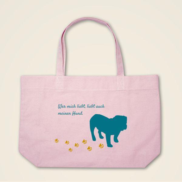 Stofftasche Stoffbeutel Boatshape bedruckt Hund Spruch rosa
