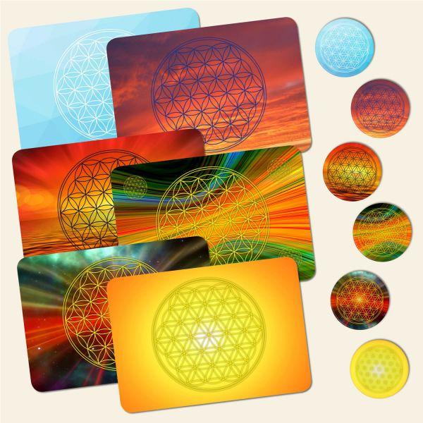 Bedrucktes 12-teiliges Tischset Blume des Lebens Flower of Life Energy Geist und Geschenk