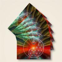 Grußkarten Postkarten Blume des Lebens Flower of Life Universum Yin Yang Geist und Geschenk