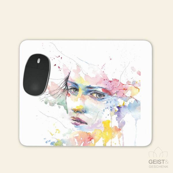 Bedrucktes Mousepad Aquarell Lady watercolour eckige Form Geist und Geschenk