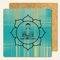 Bedruckte Korkuntersetzer Buddha Blue Gold  Geist und Geschenk eckige Form