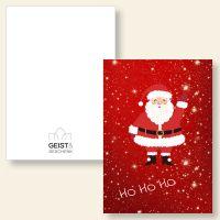 Grußkarten Weihnachtskarten Weihnachtsmann Santa Claus HoHoHo Geist und Geschenk