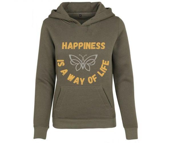 Hoodie Damen bedruckt Happiness is a way of life  Geist und Geschenk