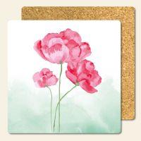 Bedruckte Korkuntersetzer Aquarell- Blumen- grün , Geist und Geschenk, eckige Form
