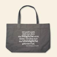 Boatshape Stofftasche bedruckt Spruch Zitat Goethe Grau 1
