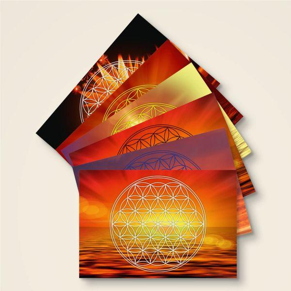 Postkarte Grußkarte Blume des Lebens Flower of Life Relax Geist und Geschenk