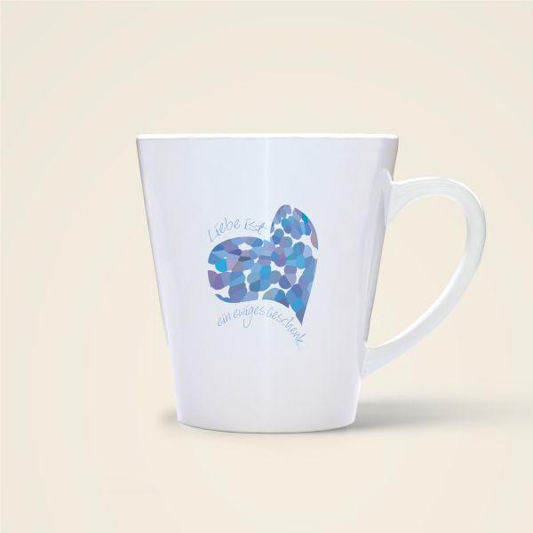 Tasse mit Spruch bedruckt Liebe ist ein Geschenk Minder blau