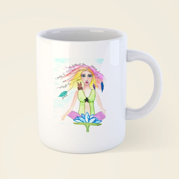 tasse bedruckt design lotus goddess onneken