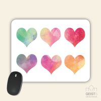 Mousepad eckige Form Aquarell Herzen Geist und Geschenk
