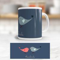 Tasse bedruckt   'Lovebirds', Geist und Geschenk, klassische Form