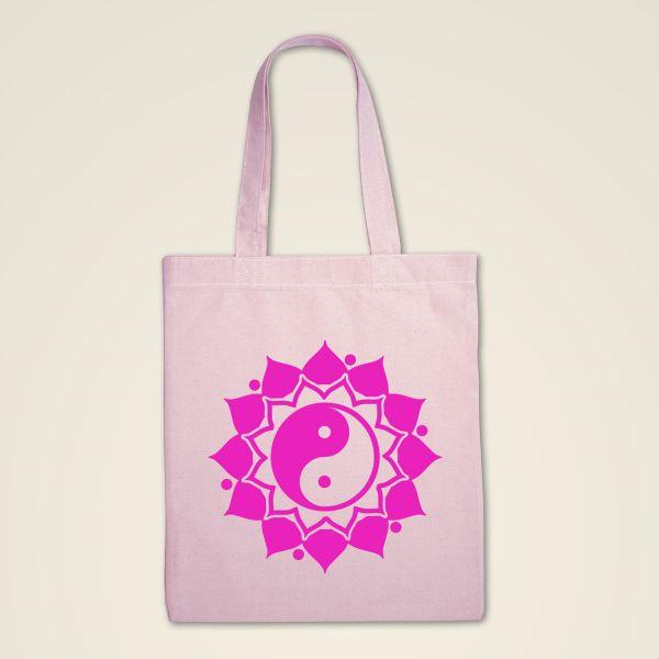 Stofftasche rosa 'Ying & Yang' Mandala