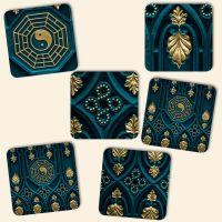Bedruckte Korkuntersetzer 'Yin Yang Gold Mix'   Geist und Geschenk eckige Form