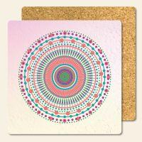 Bedruckte Korkuntersetzer Mandala Candy  Geist und Geschenk eckige Form