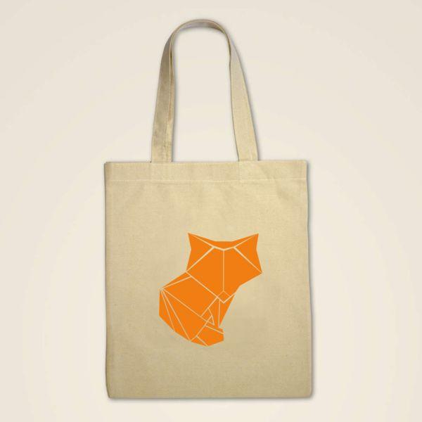 Stofftasche Stoffbeutel jutebeutel origami bedruckt fuchs moij design natur
