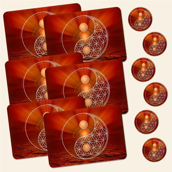 Bedrucktes 12-teiliges Tischset Blume des Lebens Flower of Life Erdstern Yin Yang Geist und Geschenk