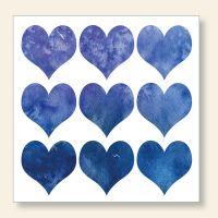 Bedruckte Postkarte Blue Heart Aquarell Design Geist und Geschenk quadratische Form