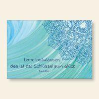Bedruckte Postkarten Buddha Zitat Schlüssel zum Glück Aquarell Mandala Geit und Geschenk