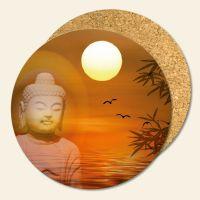 Untersetzer 6´er Set Kork Buddha Sunset Geist und Geschenk runde Form