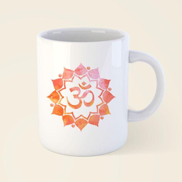 Tasse Becher bedruckt Motiv OM-Mandala klassisch orange