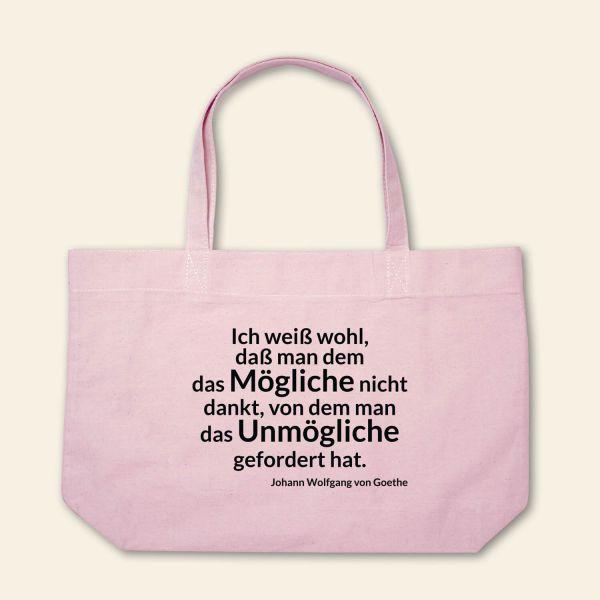 Boatshape Stofftasche bedruckt Spruch Zitat Goethe rosa  4