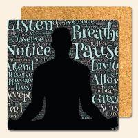 Bedruckte Korkuntersetzer 'Yoga OM'   Geist und Geschenk eckige Form