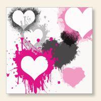 Bedrucktes Grußkarten- Set  quadratisch Farbklatsch Herzen Geist und Geschenk
